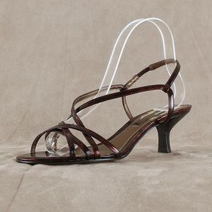 Bronze Sexy Strappy Kitten Heel Sandal BDENDALL
